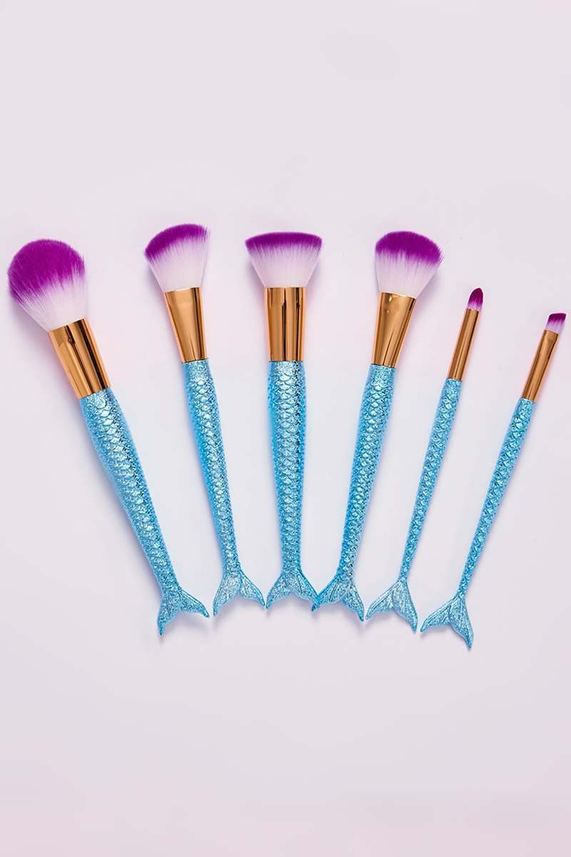 BLUE SHIMMER MERMAID 6 PIECE MAKE UP BRUSH SET
