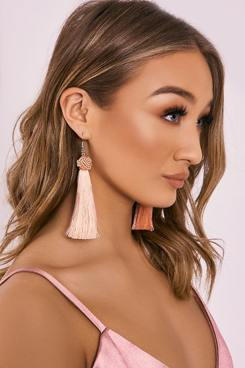 PINK KNOT TASSEL EARRINGS