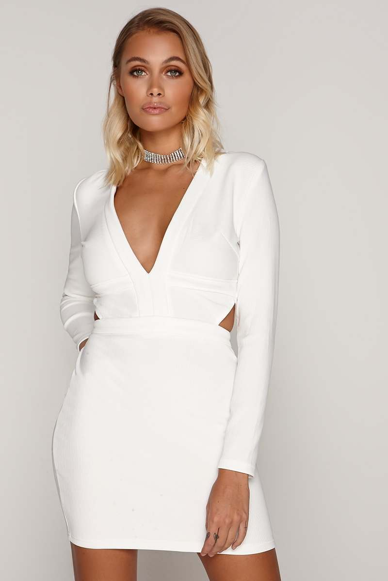 TAMMY HEMBROW WHITE RIBBED PLUNGE CUT OUT MINI DRESS
