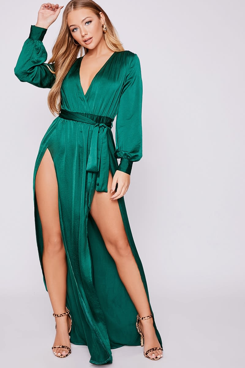 fda10adc34 Billie Faiers Green Wrap Side Split Maxi Dress | In The Style