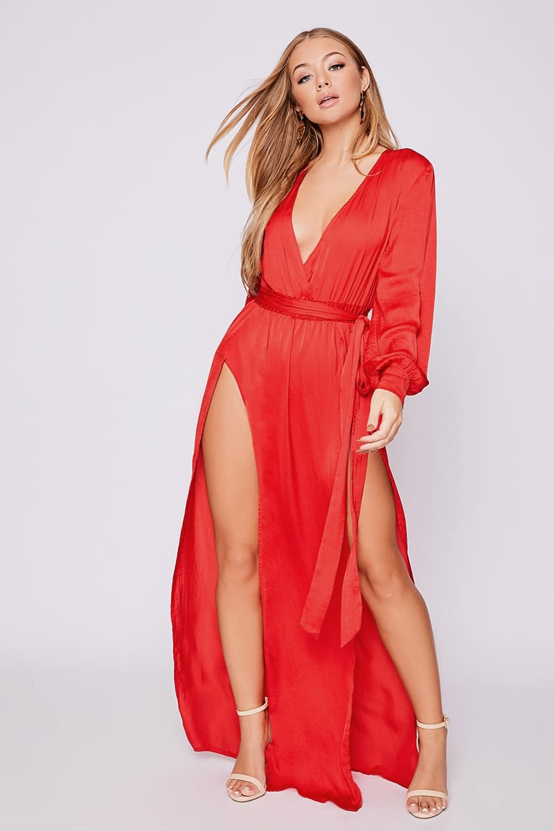b91cf63ca4 Billie Faiers Red Wrap Side Split Maxi Dress | In The Style Australia