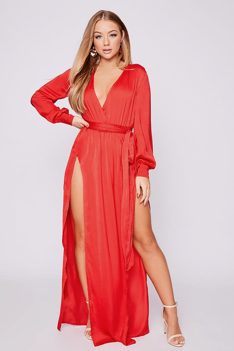 8314c54acb Billie Faiers Red Wrap Side Split Maxi Dress | In The Style Australia