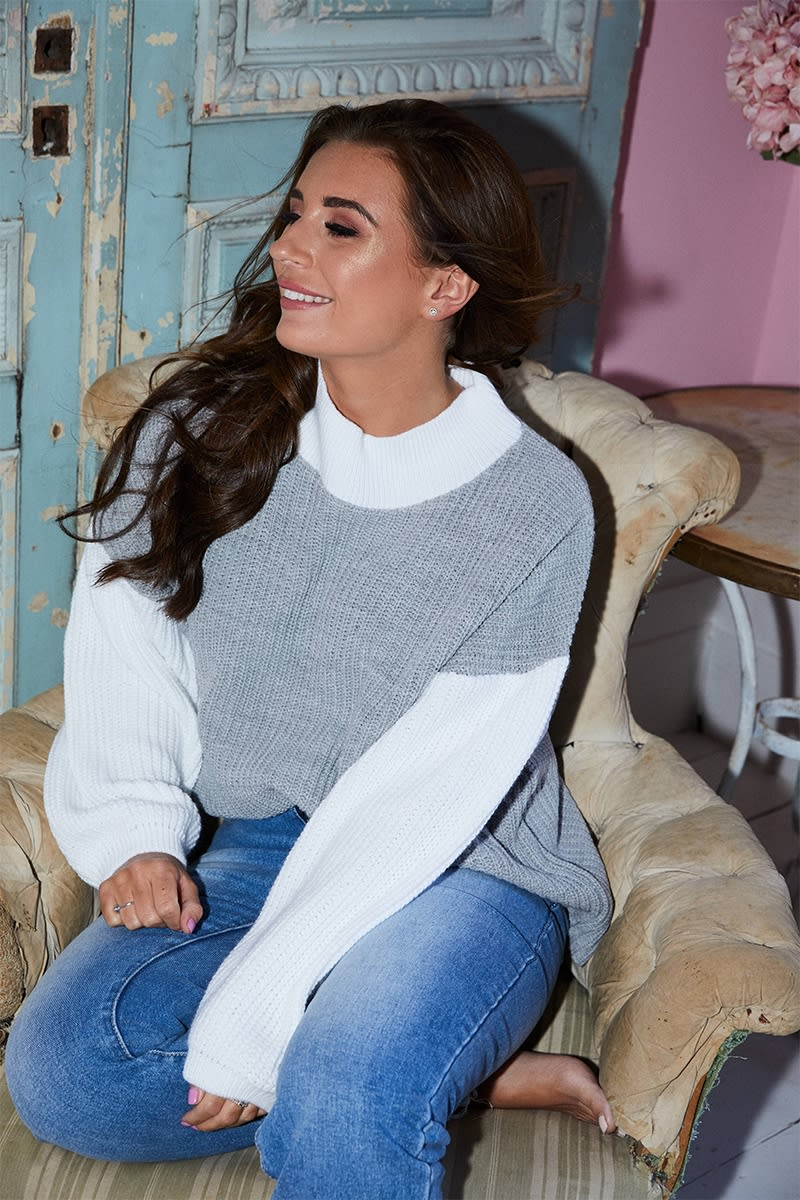 DANI DYER GREY COLOUR BLOCK JUMPER