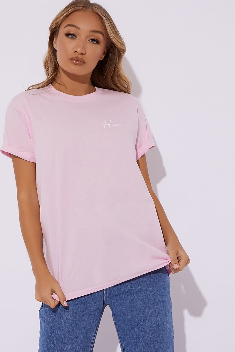 28cdd8f26d Dani Dyer Hun Pink Slogan Tee Shirt | In The Style