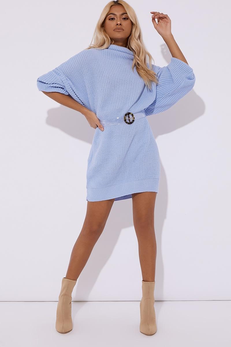 INDY BLUE COWL NECK OVERSIZED JUMPER DRESS
