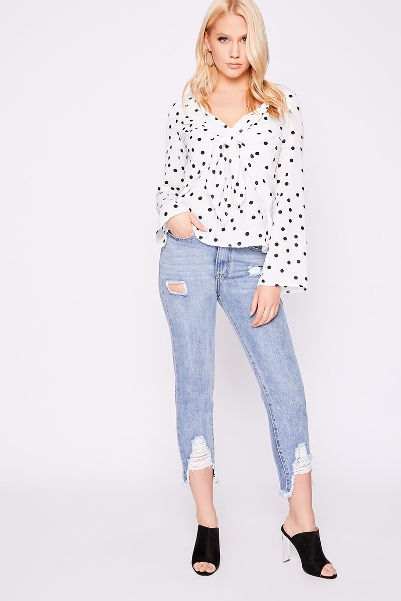 b0224ea06c4cd5 Laura Jade White Polka Dot Tie Front Blouse | In The Style