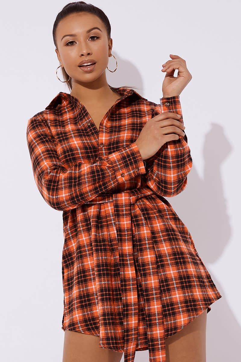 AHNAA ORANGE CHECKED TIE SHIRT DRESS