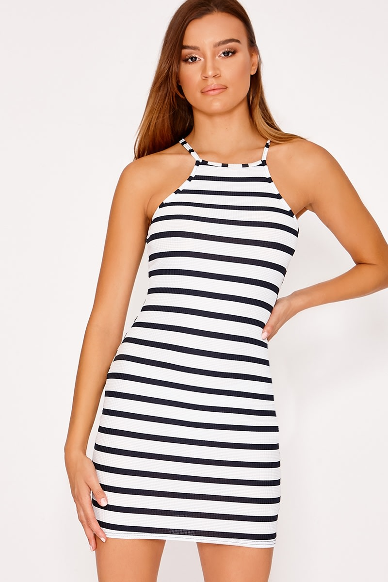 GRACIA WHITE RIB STRIPED HIGH NECK DRESS