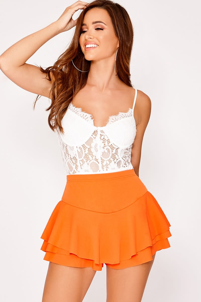 MENOLLY ORANGE FRILL HEM SKORT
