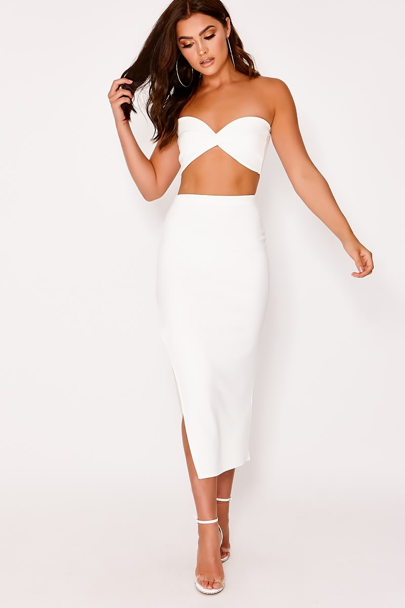 LILLIEA WHITE SCUBA SIDE SPLIT MIDI SKIRT
