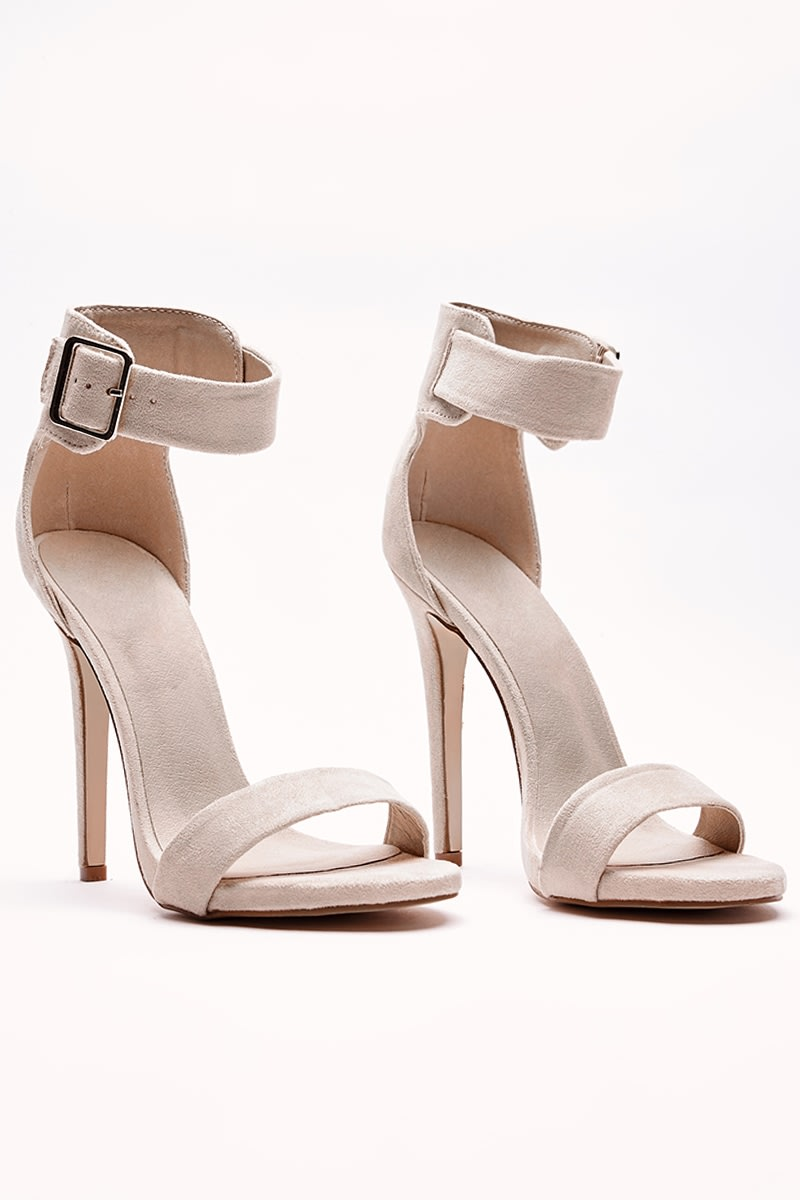 VALARY NUDE BUCKLE DETAIL BARELY THERE HEELS