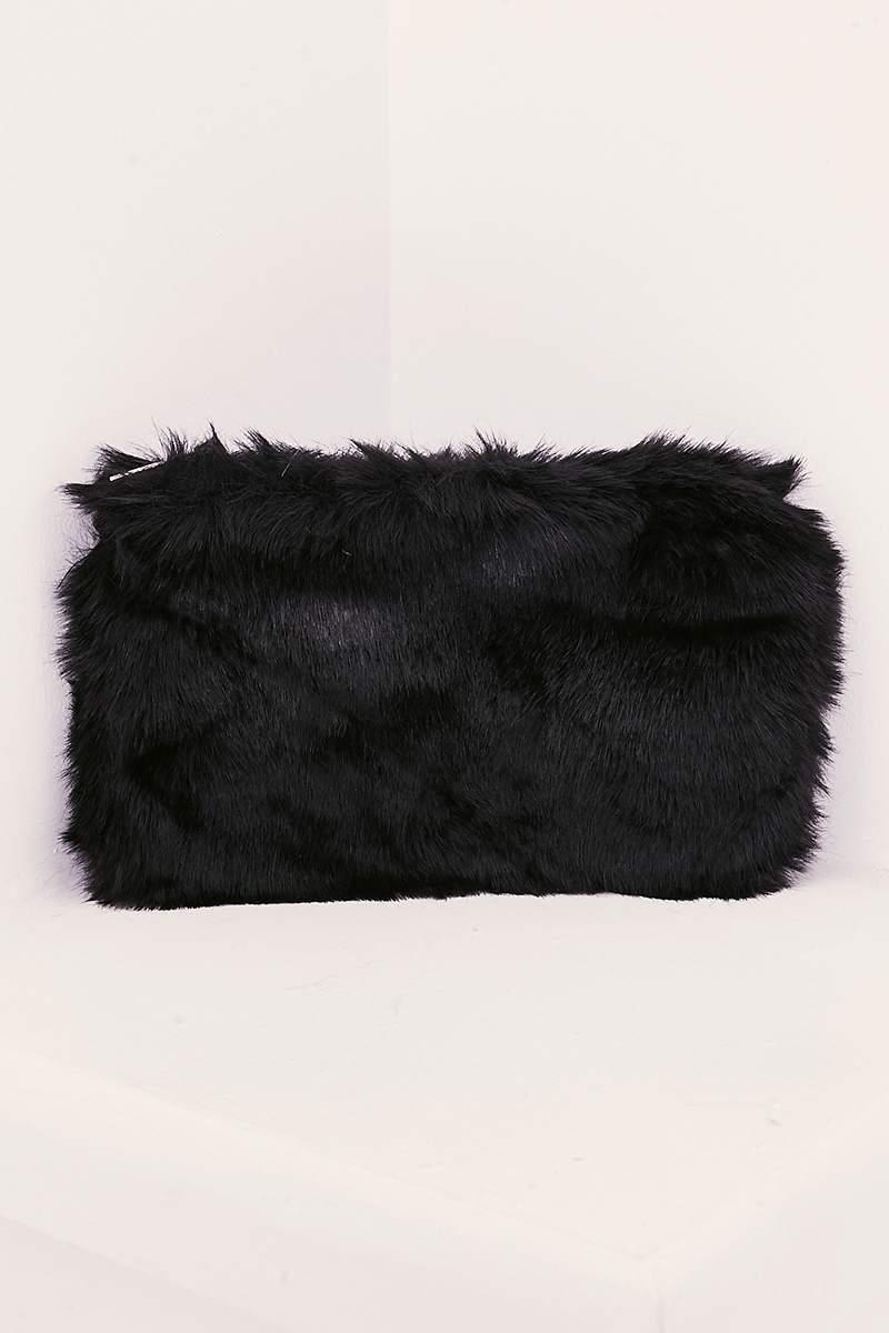 BLACK FAUX FUR BAG