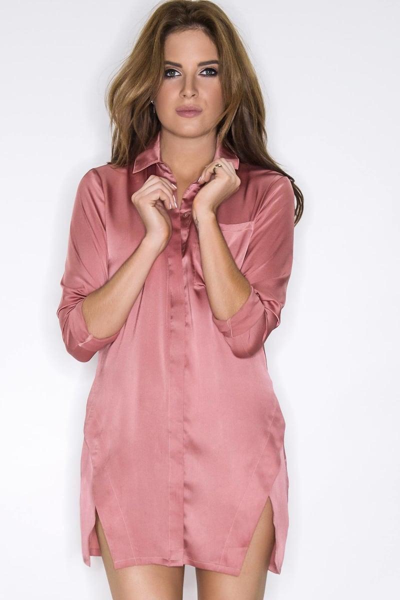 Binky Rose Pink Satin Split Front Shirt Dress