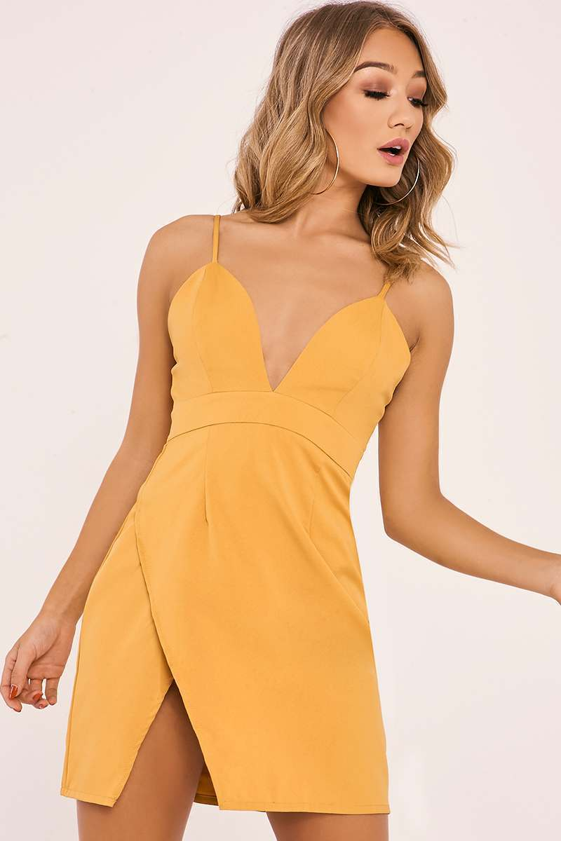 AMBERLEE MUSTARD STRAPPY PLUNGE SPLIT SIDE DRESS