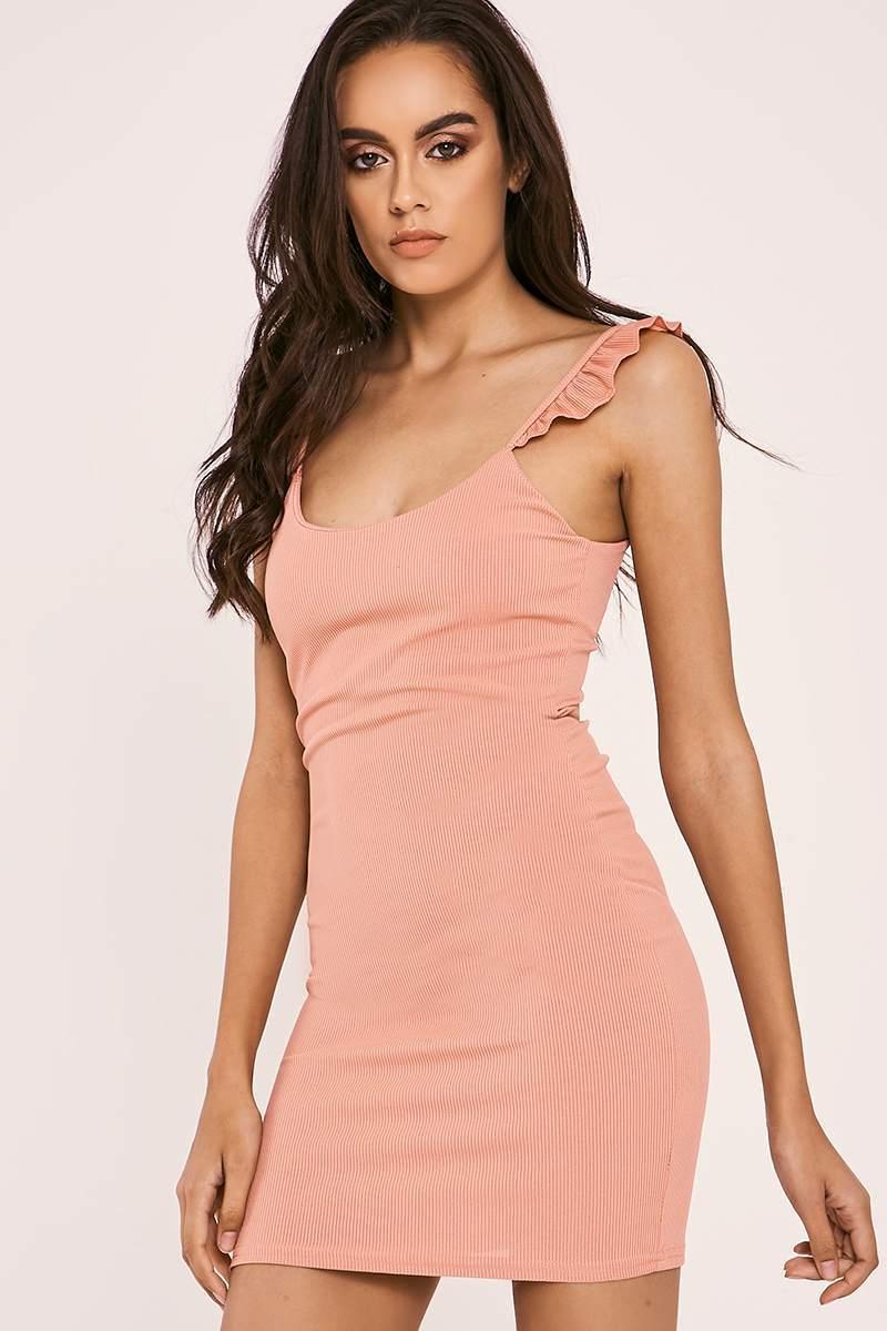 EIRA ROSE FRILL STRAP RIBBED BODYCON DRESS