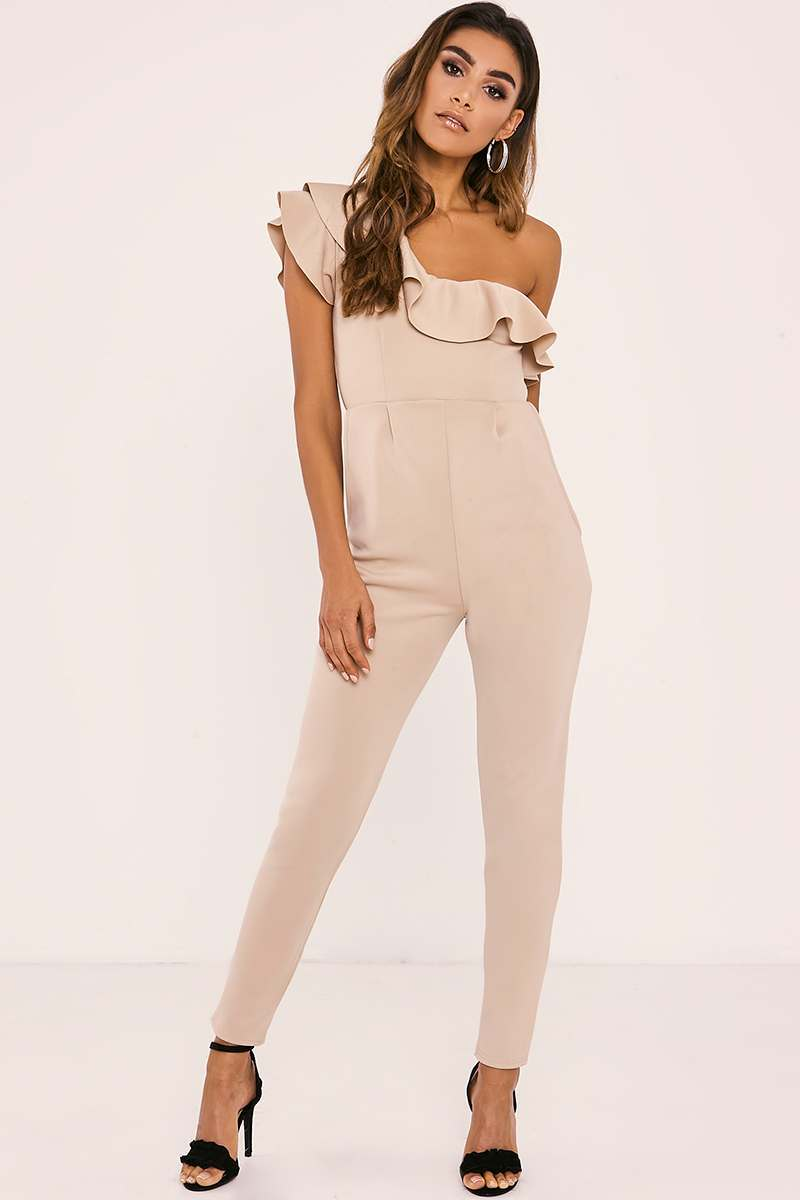 SYDNIE STONE ONE SHOULDER FRILL JUMPSUIT