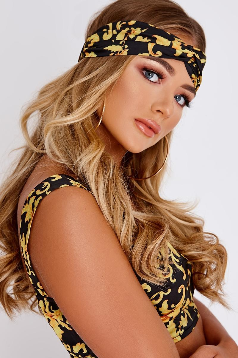 BILLIE FAIERS BLACK BAROQUE PRINT HEAD SCARF