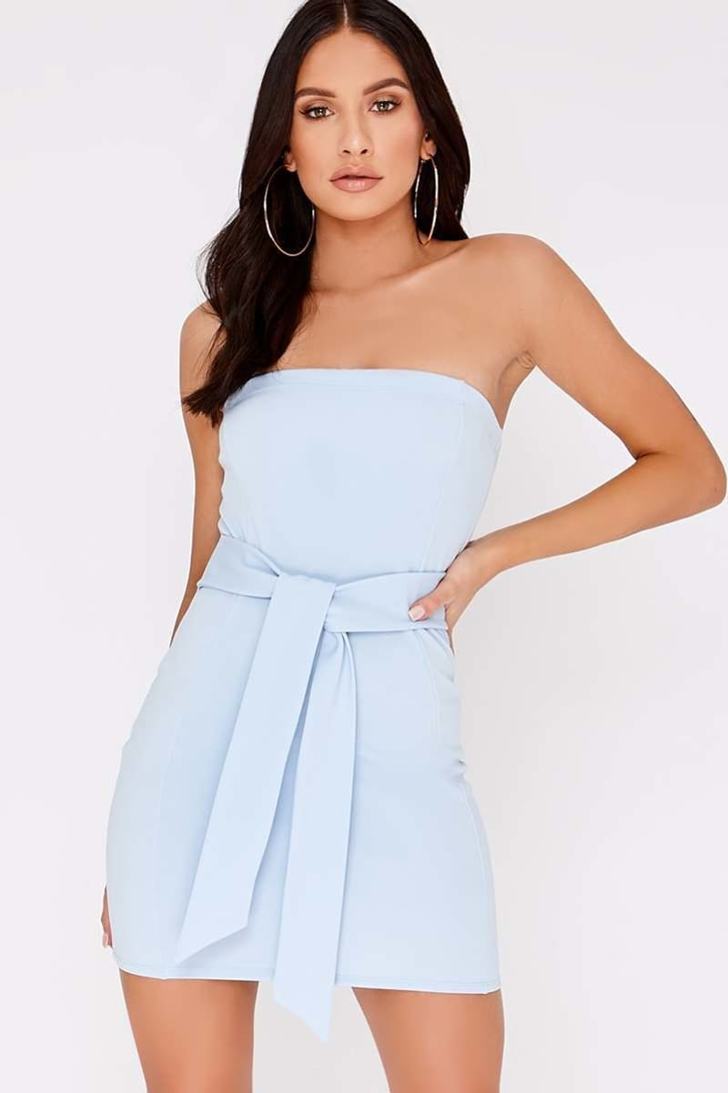 CHARLOTTE CROSBY BLUE BANDEAU TIE FRONT DRESS