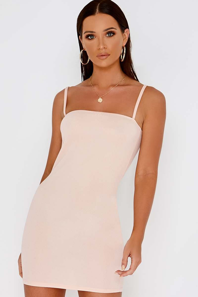 BASIC NUDE CREPE SQUARE NECK MINI DRESS
