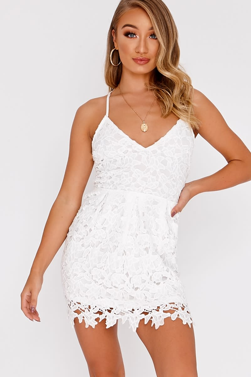 EAVEN WHITE CROCHET LACE STRAPPY SKATER DRESS