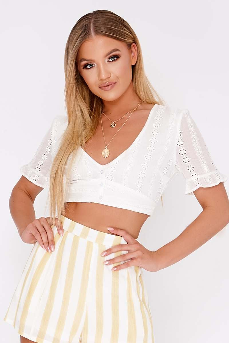 MADALENE WHITE BRODERIE ANGLAISE PLUNGE NECK CROP TOP