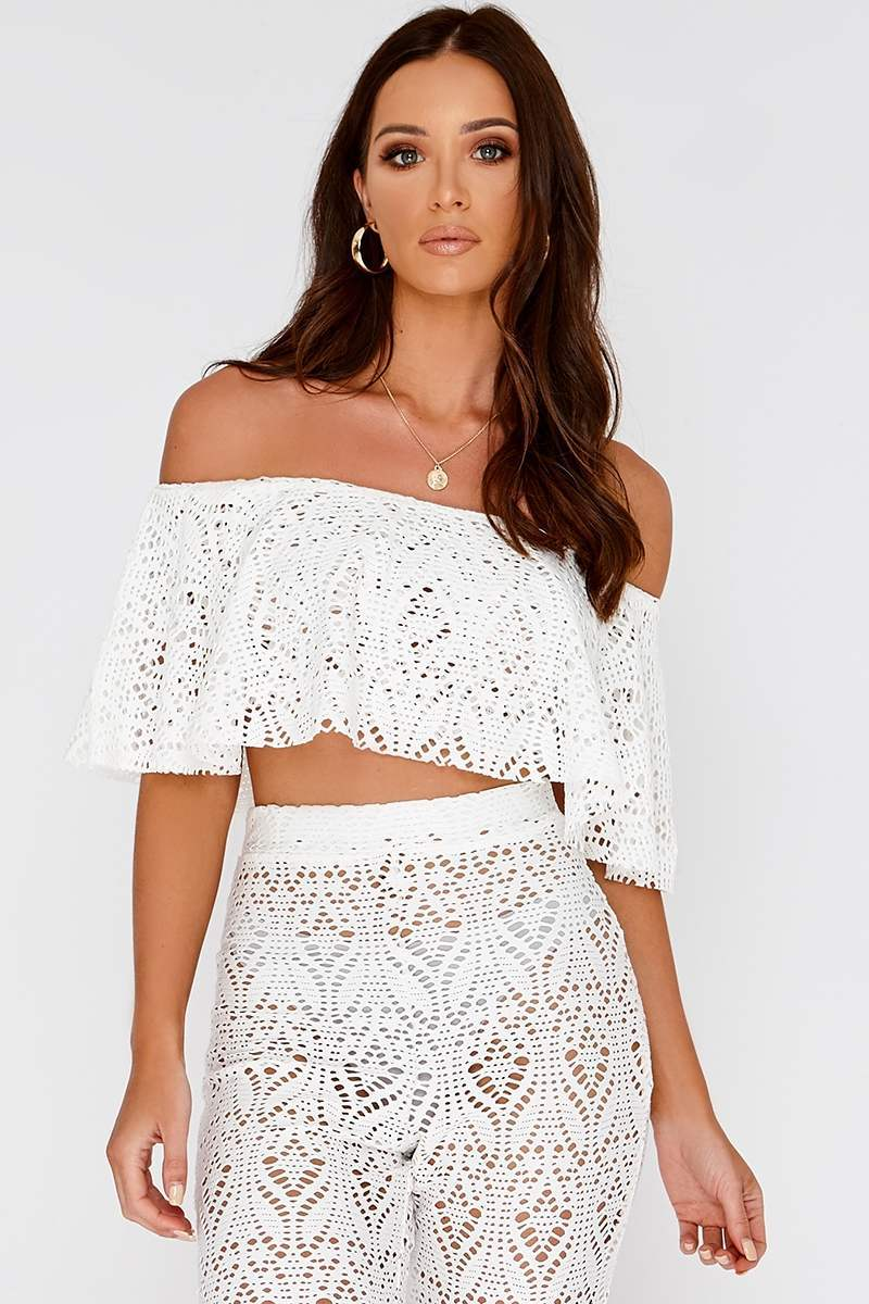 KAEDY WHITE CROCHET LACE BARDOT FRILL CROP TOP