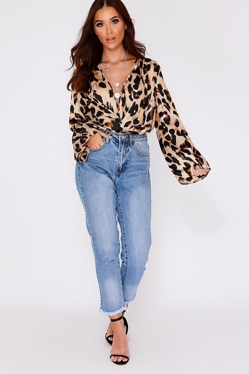 14517b13addf Narelle Leopard Print Twist Front Flare Sleeve Bodysuit | In The ...