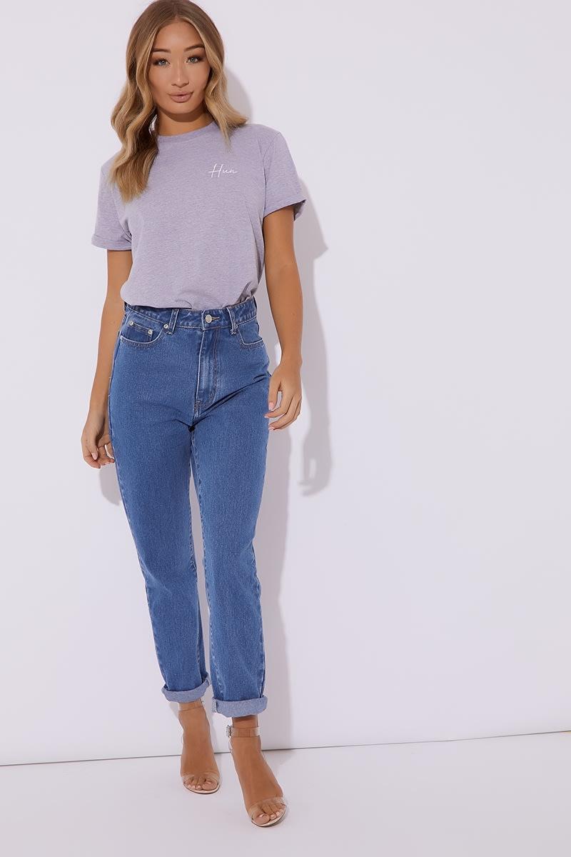 c9e1d5828a Dani Dyer Hun Grey Slogan Tee Shirt | In The Style