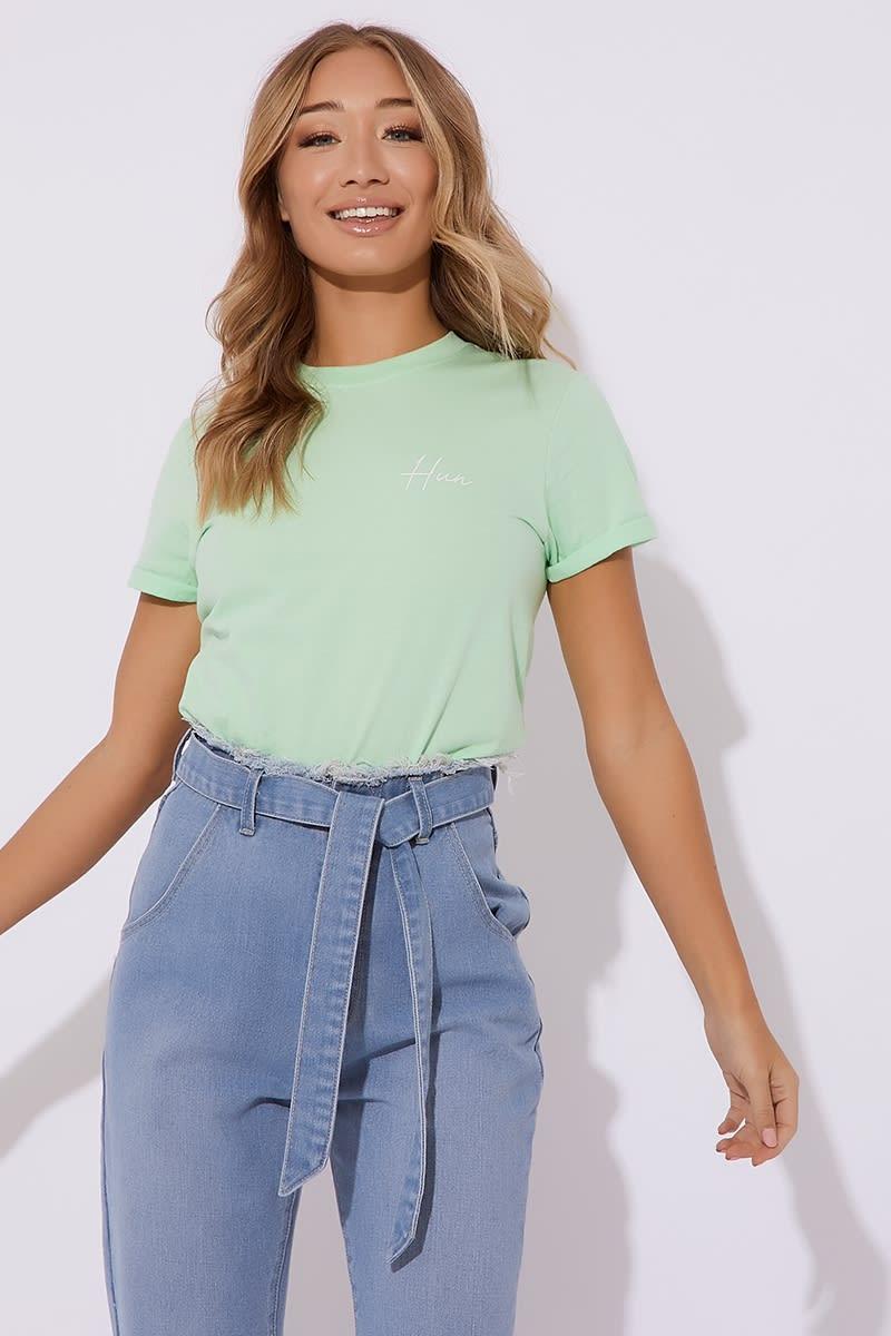 0e93aa8ae5 Dani Dyer Hun Mint Slogan Tee Shirt | In The Style