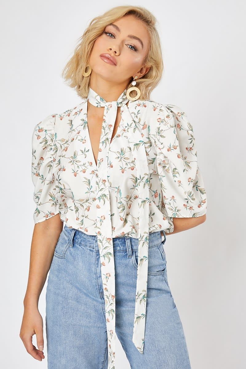 LAURA JADE WHITE FLORAL PUSSY BOW PUFF SLEEVE BLOUSE
