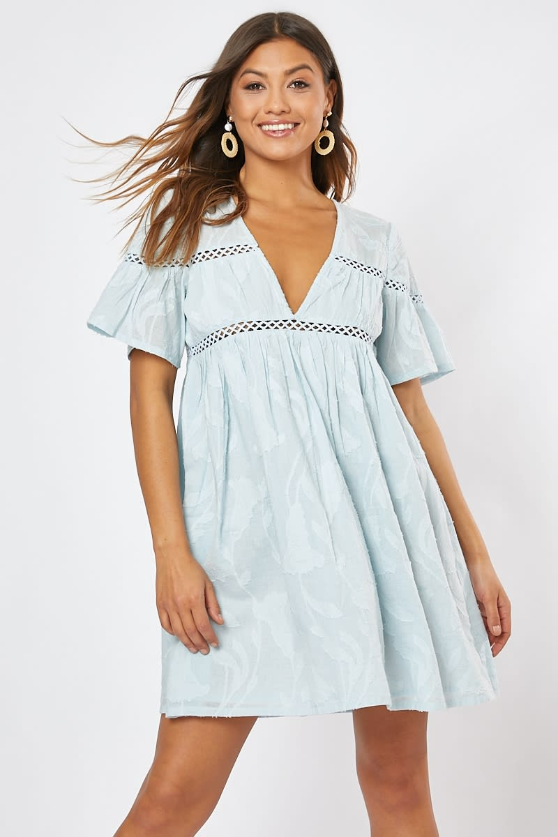 SADIAH BLUE SMOCK MINI DRESS