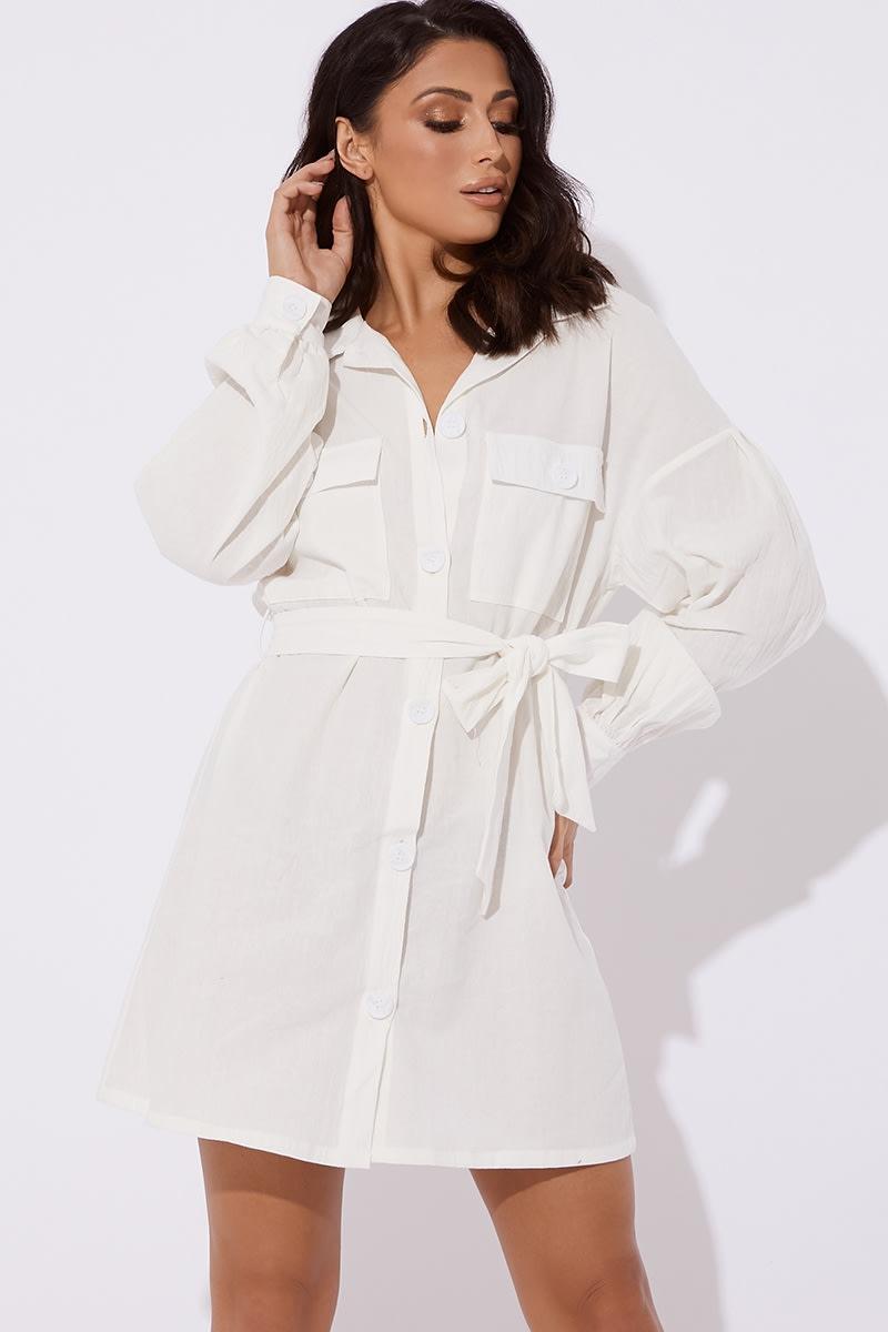 SHAYLAH WHITE BUTTON DOWN TIE WAIST SHIRT DRESS