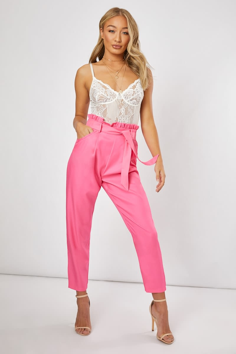 FREDERICA FUSCHIA TIE WAIST TAILORED TROUSERS