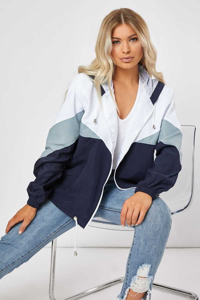 TERESAH NAVY COLOUR BLOCK WINDBREAKER
