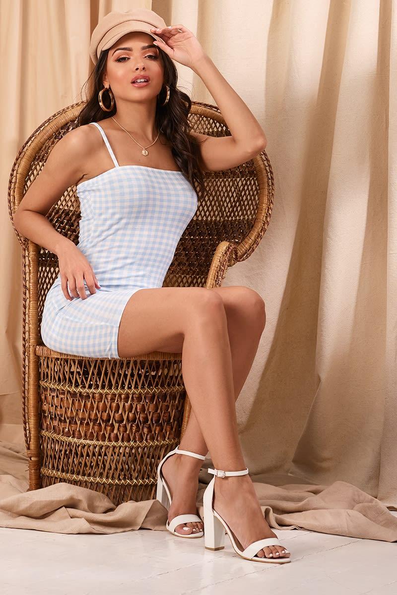 LERISA BLUE GINGHAM STRAPPY SQUARE NECK MINI DRESS