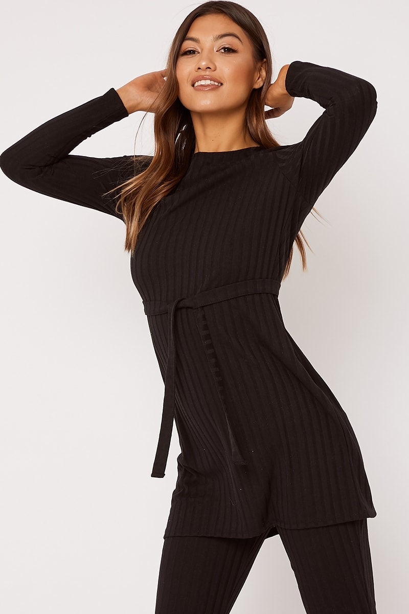 LINELLE BLACK RIBBED LONGLINE TOP