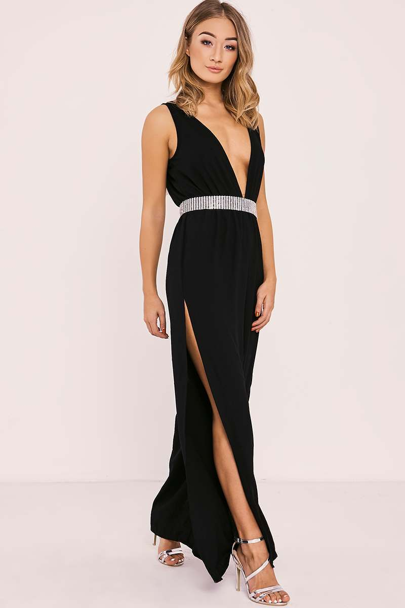 RIHANA BLACK SIDE SPLIT PLUNGE JUMPSUIT