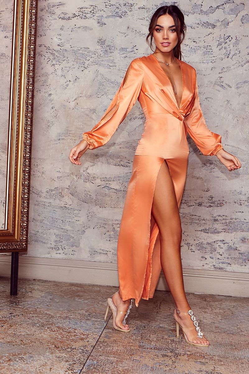 GAGA ORANGE SATIN PLUNGE SPLIT SLEEVE MAXI DRESS