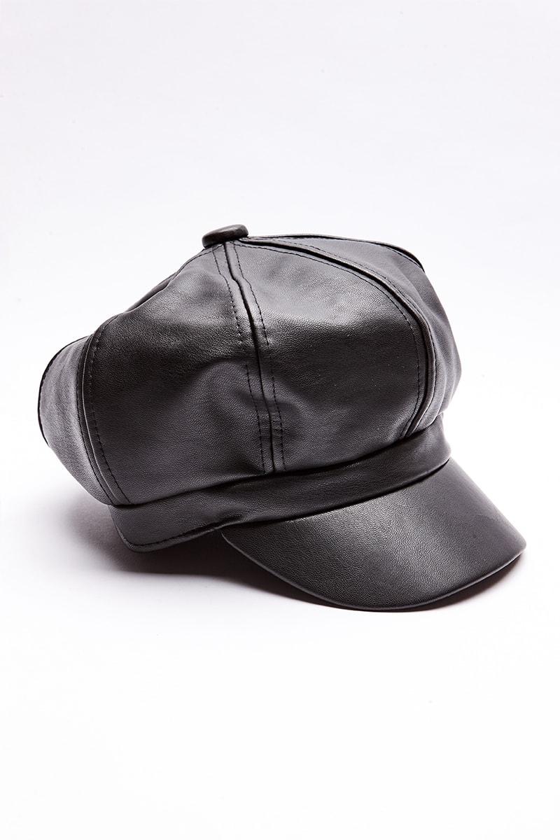 BLACK PU BAKER BOY HAT