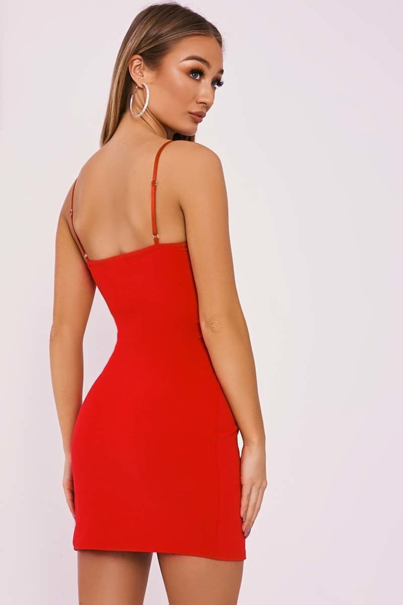 bdfffdf4b1c9 Daizie Red V Plunge Split Leg Mini Dress | In The Style Australia