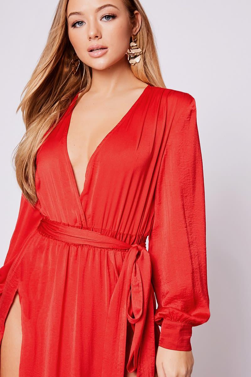 5648b8b99ba0 Billie Faiers Red Wrap Side Split Maxi Dress | In The Style Australia