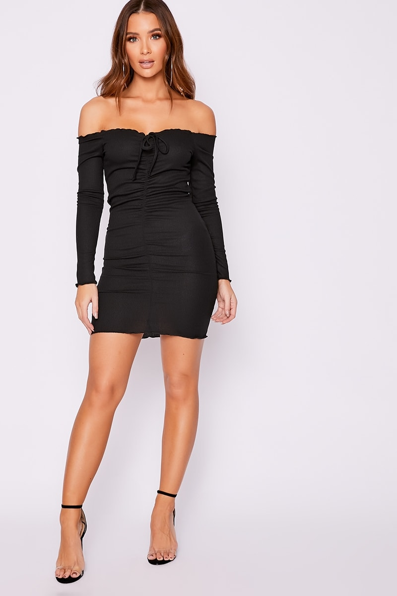 1cff71ff744d Elissah Black Ribbed Bardot Ruched Mini Dress | In The Style