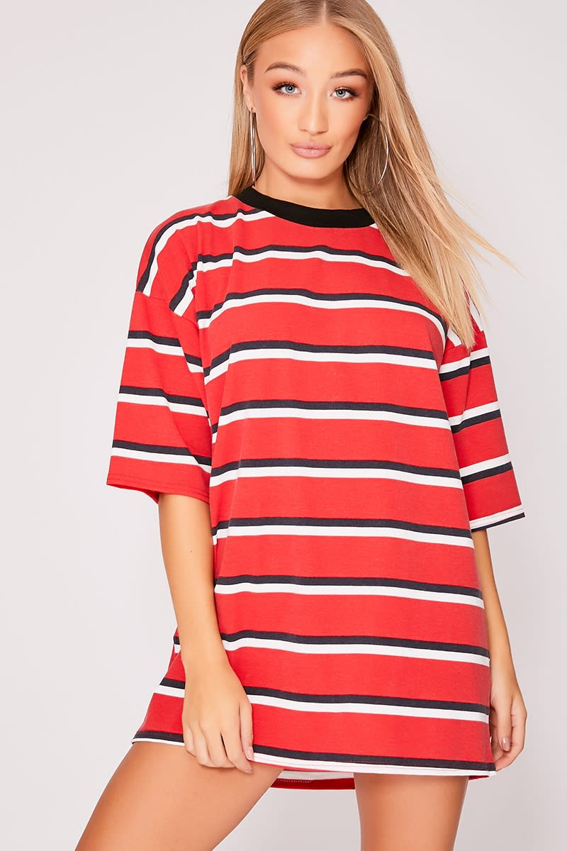 7c81336d6364 Iggi Red Stripe Oversized T Shirt Dress | In The Style
