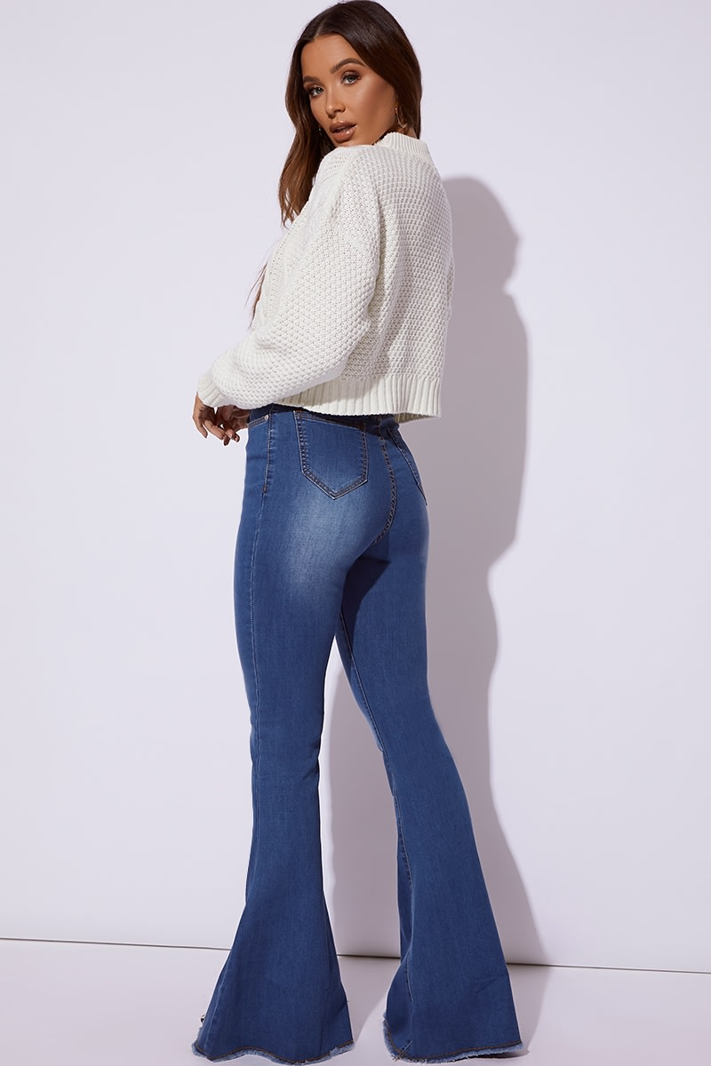 27e0ba1f260 Kaiyah Blue Denim Extreme Flare Jeans | In The Style