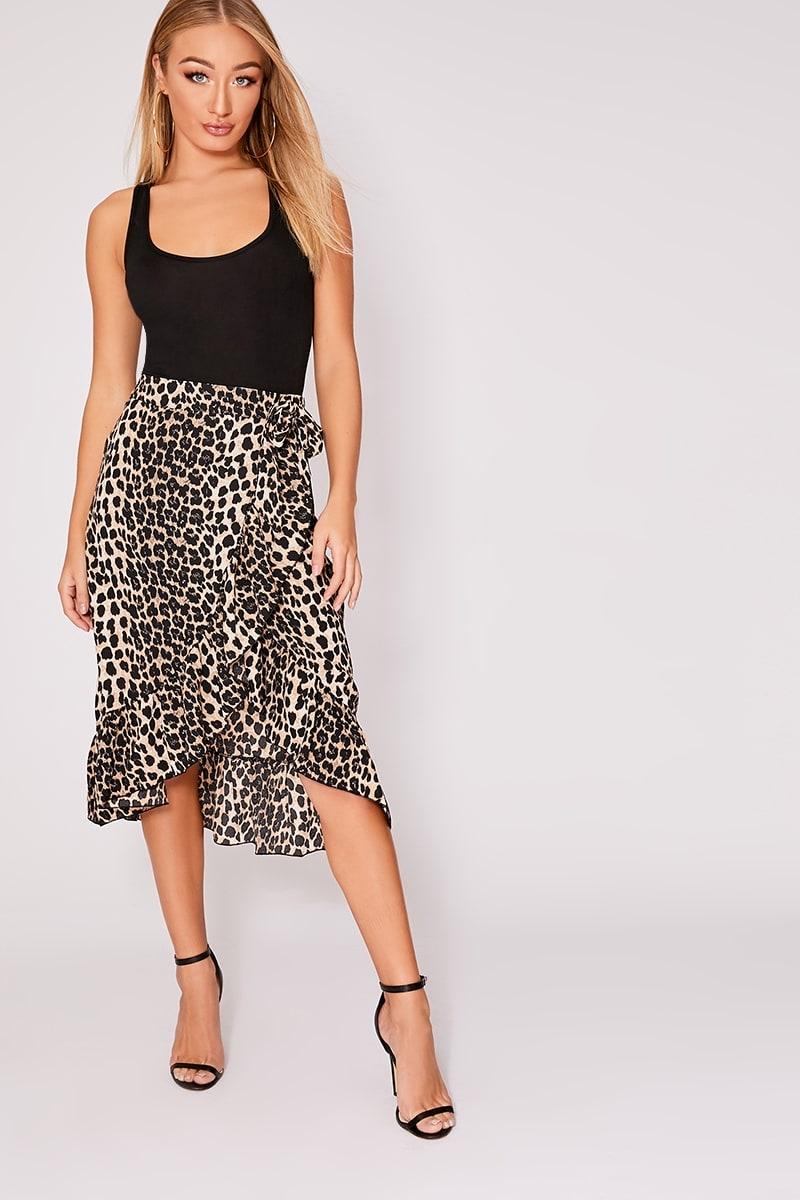 0f67ed42c Miren Brown Leopard Print Wrap Frill Midi Skirt | In The Style
