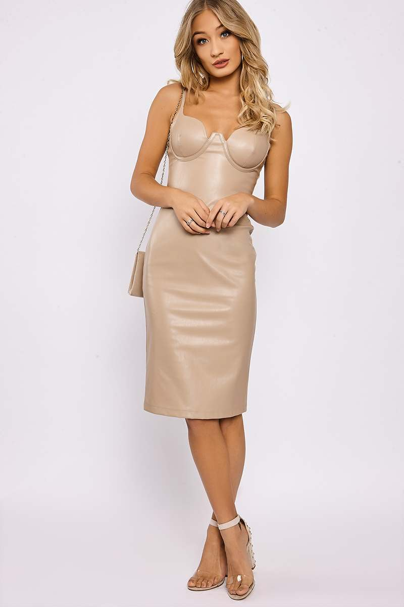 53d5d3f48f KYNDELL NUDE FAUX LEATHER CUPPED BODYCON MIDI DRESS | In The Style ...