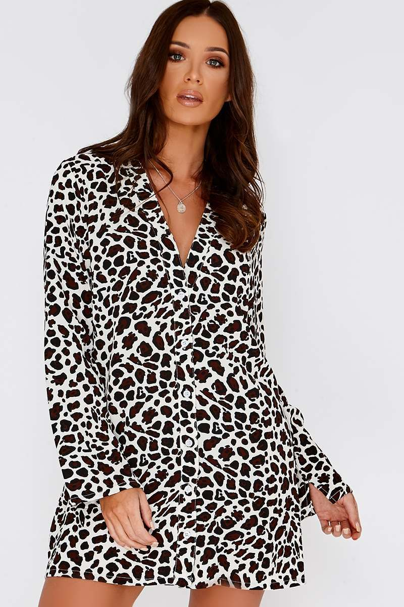 ce36740fdb14 Edwina Cream Leopard Print Shirt Dress | In The Style