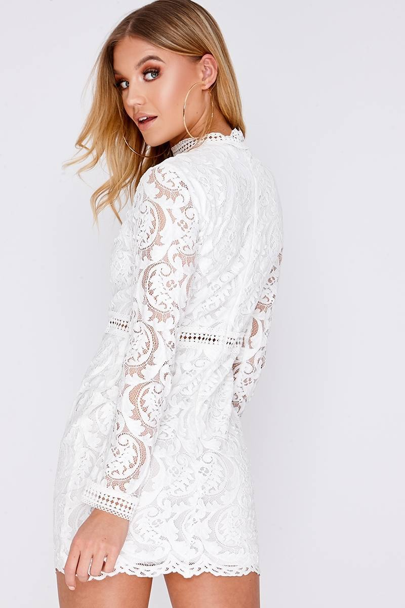 32fb17ac30c4 Camelia White Lace Long Sleeve Mini Dress   In The Style