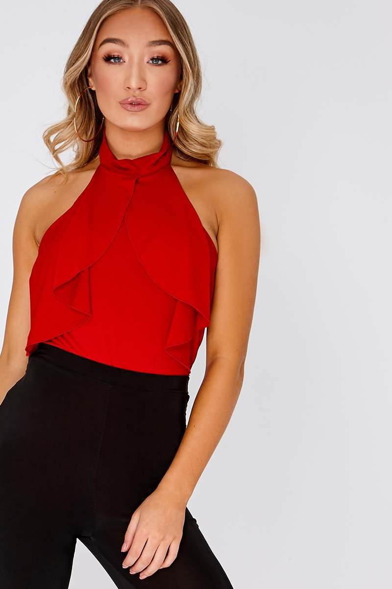 acb6300d7379 Lakita Red Halterneck Ruffle Bodysuit | In The Style