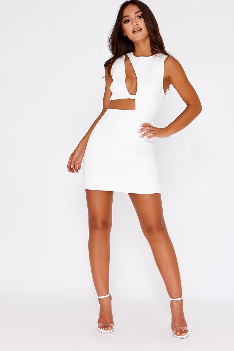 876b530ea706 Sarah Ashcroft White Faux Suede Cut Out Mini Dress | In The Style ...